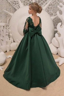 Satin Dark Green Jewel Lace Backless Flower Girl Dresses With Bow| Long Sleeves Floor Length Girl Party Dresses_2