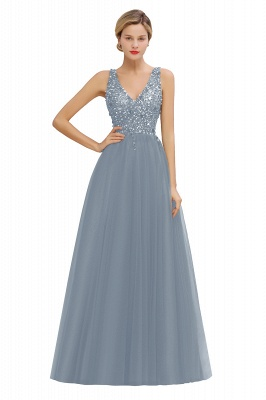 Spark Beading Sequins Bodice Evening Maxi Dress Tulle  Gown_6