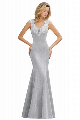 Mermaid V-Neck Floor Length Lace Long Cocktail Dress_6