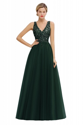 Spark Beading Sequins Bodice Evening Maxi Dress Tulle  Gown_5