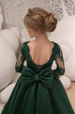 Satin Dark Green Jewel Lace Backless Flower Girl Dresses With Bow| Long Sleeves Floor Length Girl Party Dresses_4