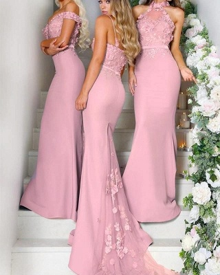 Multy-style Mermaid Lace Floor Length Bridesmaid Dresses With Waistband Maid Of honor Gowns_2