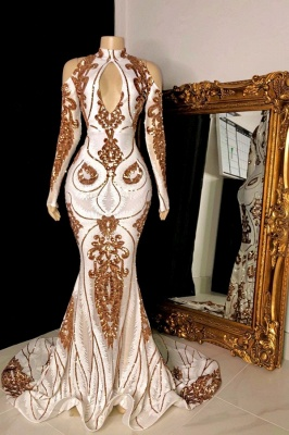 Gorgeous Beading Sequins Keyhole Cold Shoulder Long Sleeves Mermaid Formal Gowns