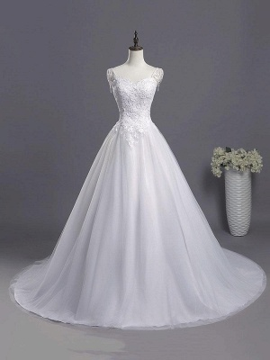 Charming A-line Wedding Gowns Beads Lace Appliques Bridal Gowns
