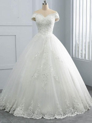 Gorgeous Off Shoulder Ball Gowns Lace Appliques Bridal Gown