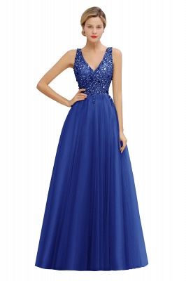 Spark Beading Sequins Bodice Evening Maxi Dress Tulle  Gown_3