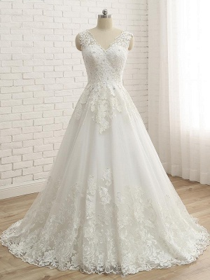 Elegant A-line Wedding Dress Floral Lace Appliques for Bride