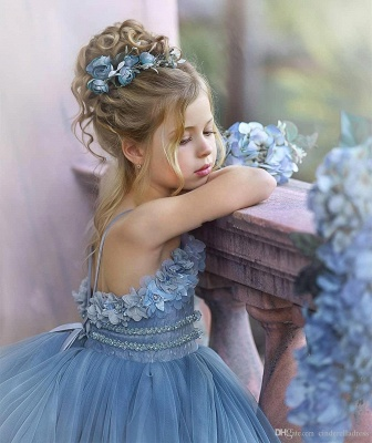 Cute Strapless Blue Ruffles Puffy Princess Flower Girl Dresses