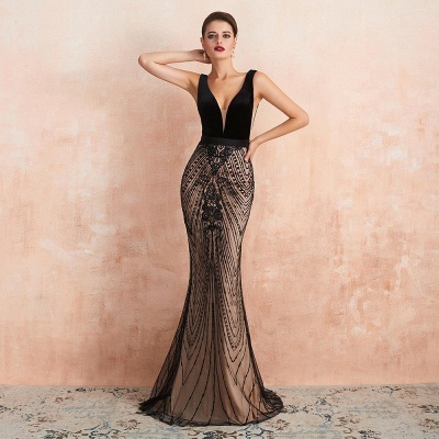 Sexy Double V-Neck Black Beading Mermaid Evening Maxi Dress Sleeveless Stylish Prom Dress