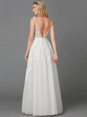 Elegant Tulle  Appliques Simple Wedding Dress V-Neck Sleeveless A-line Lace Dress_3
