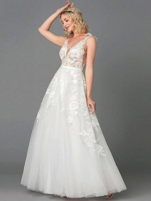 Elegant Tulle  Appliques Simple Wedding Dress V-Neck Sleeveless A-line Lace Dress_1