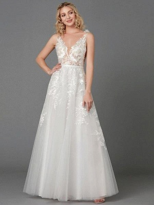 Elegant Tulle  Appliques Simple Wedding Dress V-Neck Sleeveless A-line Lace Dress_2