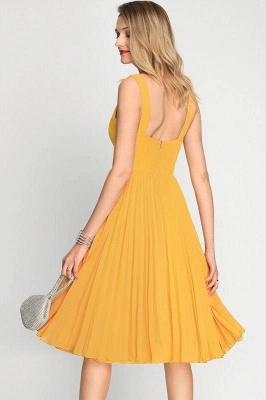 A-Line Square Neckline Cocktail Dress With Pleated Knee-Length Chiffon_4