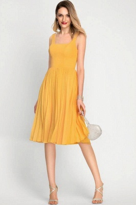A-Line Square Neckline Cocktail Dress With Pleated Knee-Length Chiffon_2