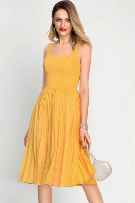A-Line Square Neckline Cocktail Dress With Pleated Knee-Length Chiffon_6