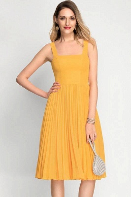 A-Line Square Neckline Cocktail Dress With Pleated Knee-Length Chiffon_5