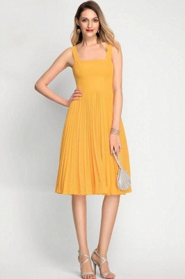 A-Line Square Neckline Cocktail Dress With Pleated Knee-Length Chiffon_3