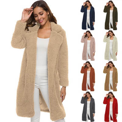 Long Winter Jacket Women Plush Coat Long Sleeve Lapel Pullover Lamb Velvet Sweater Overcoat Winter