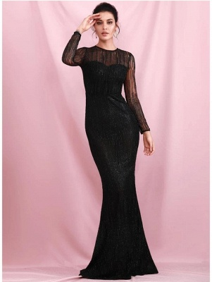 Charming Black Sequins Slim Evening Maxi Dress Long Sleeve Glitter Party Dress_4