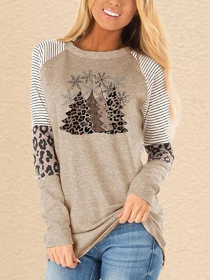 Christmas Trees Print Sweatshirts Casual Women Tops