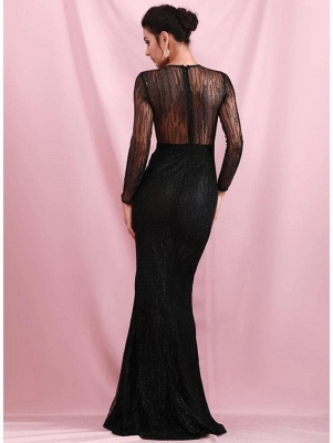 Charming Black Sequins Slim Evening Maxi Dress Long Sleeve Glitter Party Dress_3