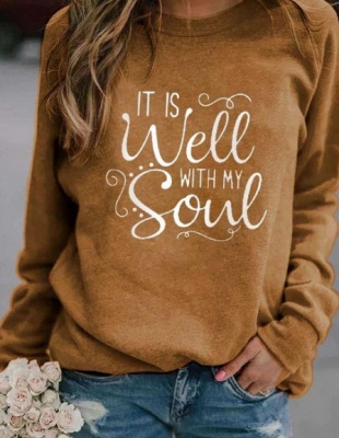 Special Letter Printed Casual Sweatshirts Women's Long Sleeve Top