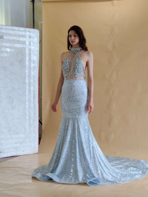 Elegant Halter Mermaid Prom Dresses | 2020 Backless Sequins Evening Gowns BC0679_9