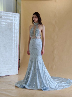 Elegant Halter Mermaid Prom Dresses | 2020 Backless Sequins Evening Gowns BC0679_8