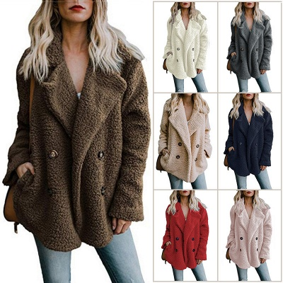 2020 Winter Coats Plus Size Long Sleeve Fluffy Fur Jackets Women Warm Winter Jacket_3