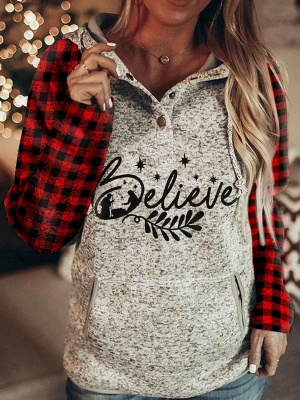 Believe Print Hoodie Long Sleeve Grid Top for Women