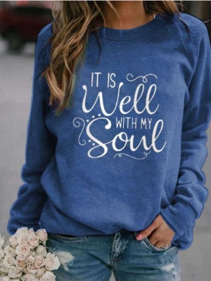 Special Letter Printed Casual Sweatshirts Women's Long Sleeve Top_4