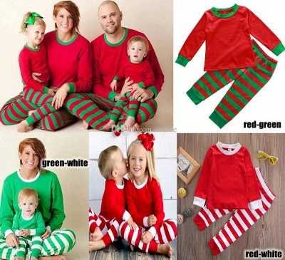 Family Christmas Outfits Pajamas Set stripe|Family Matching Clothes Xmas Gifts | Family Sleepwear 2PCS