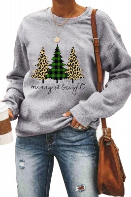 Leopard Printed Plaid Trees Christmas Sweatshirt Long Sleeve Lightweight Pullover Tops Blouse Women_12
