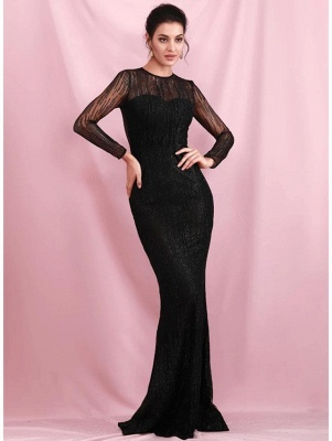 Charming Black Sequins Slim Evening Maxi Dress Long Sleeve Glitter Party Dress_5