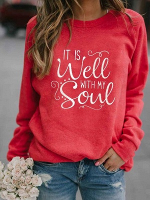 Special Letter Printed Casual Sweatshirts Women's Long Sleeve Top_2