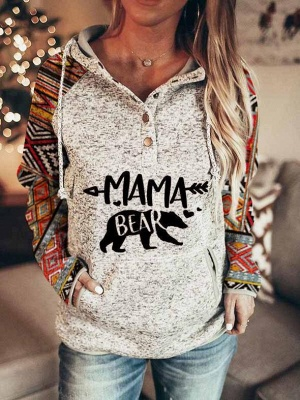 Animal Mama Patch Sweatshirt Printed Long Sleeve Hoodie
