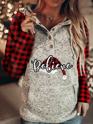 Christmas Hoodies for Women Believe Print Long Sleeve Sweatshirt