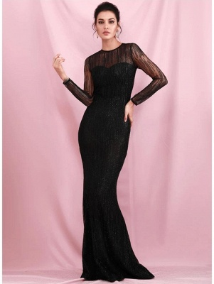 Charming Black Sequins Slim Evening Maxi Dress Long Sleeve Glitter Party Dress_2