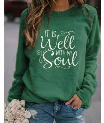 Special Letter Printed Casual Sweatshirts Women's Long Sleeve Top_3