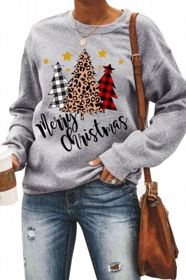 Leopard Printed Plaid Trees Christmas Sweatshirt Long Sleeve Lightweight Pullover Tops Blouse Women