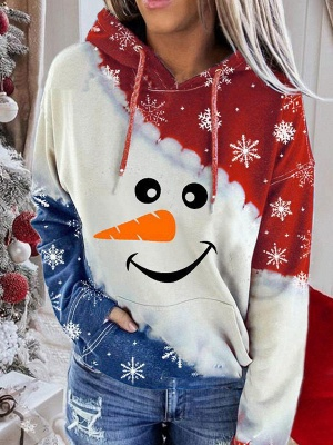 Snowman Printed Hoodies Casual Sweatshirt Long Sleeve Top for Women