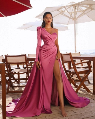 Sexy One Shoulder Satin  Evening Maxi Gowns with Sweep Train Side Split Party Dress_4