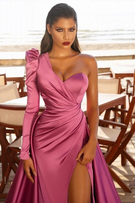 Sexy One Shoulder Satin  Evening Maxi Gowns with Sweep Train Side Split Party Dress