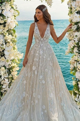 Chic 3D-Floral Print Wedding Dress A-line V-Neck Beach Wedding_1