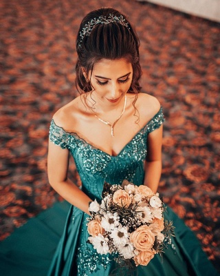 Jade Off Shoulder A-line Beading Evening Gowns Sleeveless Ball Gown_3