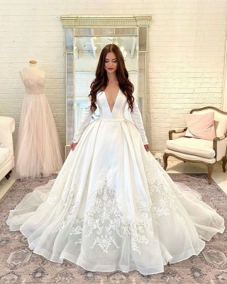 Gorgeous Long Sleeve A-line Bridal Gowns V-Neck Lace Appliques Satin Wedding Dress