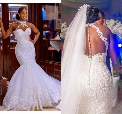 Gorgeous Halter Beading Mermaid Ball Gown Bridal Dress for Women Lace Appliques_4