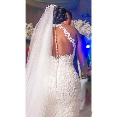 Gorgeous Halter Beading Mermaid Ball Gown Bridal Dress for Women Lace Appliques_3