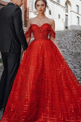 Gorgeous Red Off Shoulder Sequins Evening Maxi Dress Party Dress