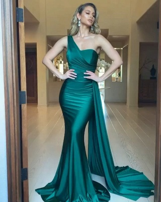 Sexy Mermaid Sleeveless Evening Maxi Gowns Strech Satin Prom Dress V-Neck/One Shoulder_2